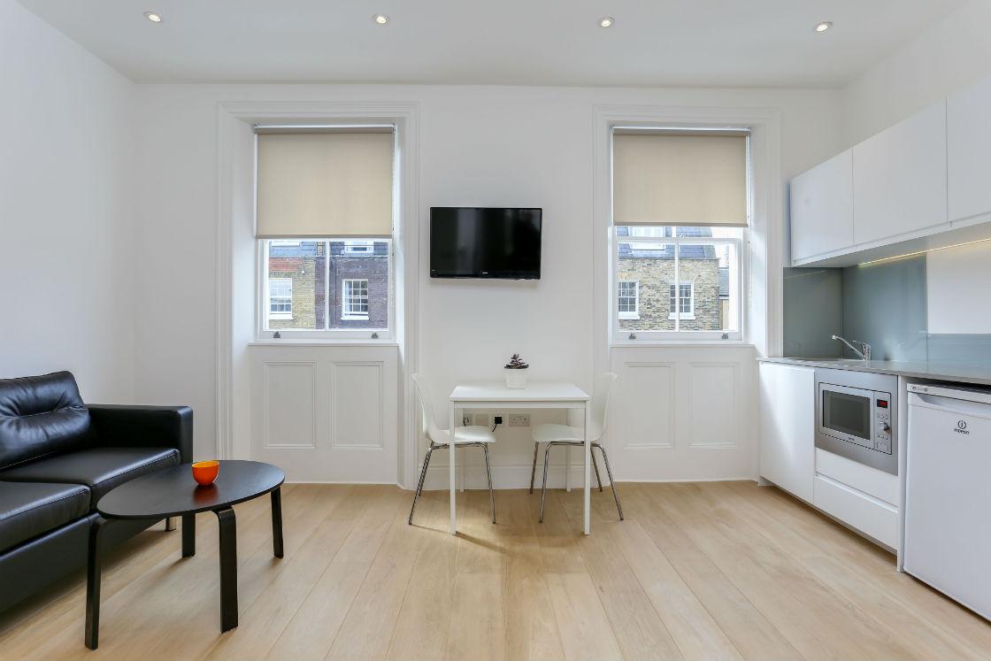 Open plan reception room in one bedroom flat in Kings Cross