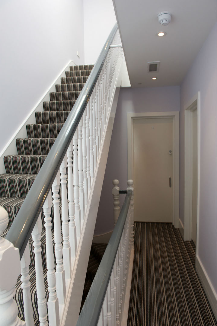 Hallway and staircase in the building in West Hampstead