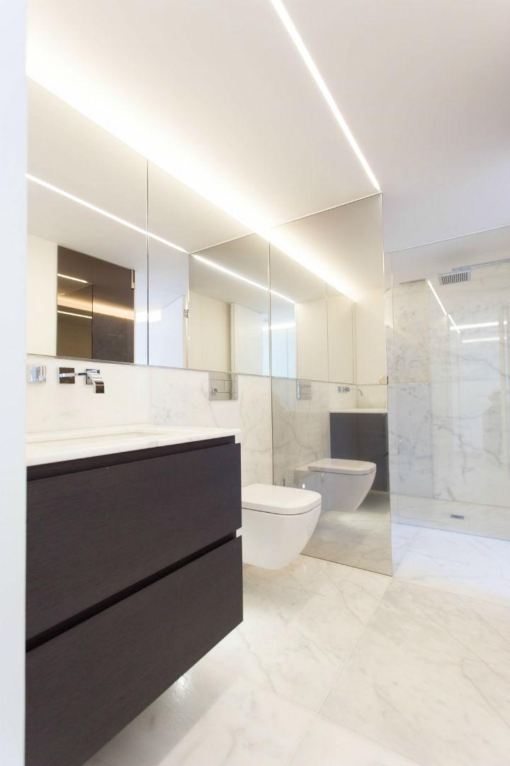 Spacious modern bathroom with big walk-in shower in Greek Street