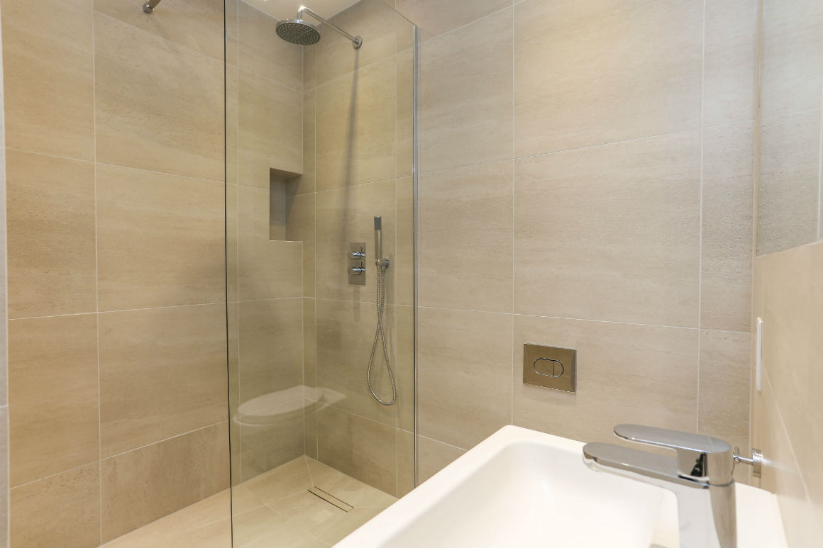 Modern bathroom in Kings Cross apartment London