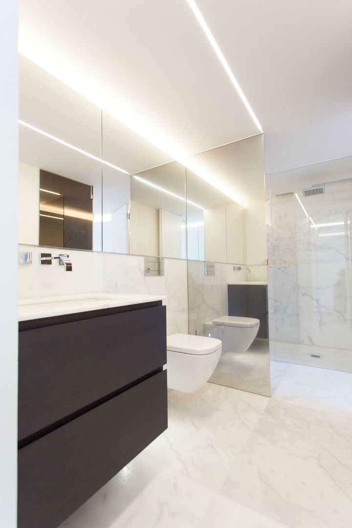Spacious modern bathroom with big walk-in shower in Greek Street