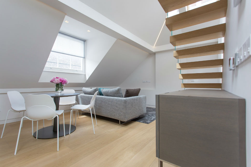 Penthouse split level one bedroom apartment in Soho